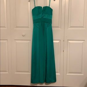 BCBGMAXAZRIA Emerald Satin Pleated Strapless Dress